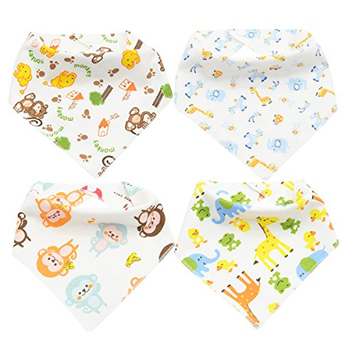 Zando Unisex Lovely Absorbent Cotton Drool Bibs for Teething and Dribble Baby B 4 Pack (Funny But Cute Girl Halloween Costumes)