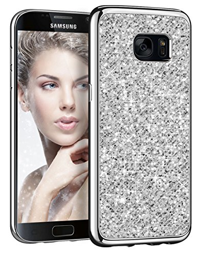 Galaxy S7 Case,HoneyAKE Bling Glitter TPU Electroplating Case Cover (Silver)