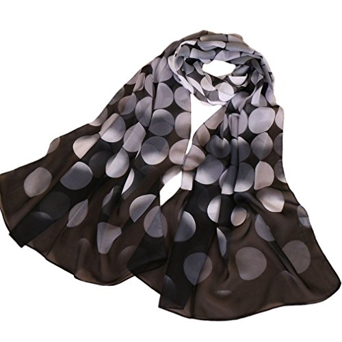 (LMVERNA Women Floral Scarves Chiffon Flowers Birds Printed Scarf polka dot scarfs (Black+White))
