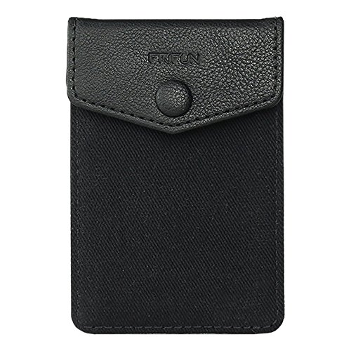 FRIFUN Cell Phone Wallet Ultra-Slim Self Adhesive Credit Card Holder Stick on Wallet Cell Phone Leather Wallet for Smartphones RFID Blocking Sleeve Covers Credit Cards and Cash (Black) …