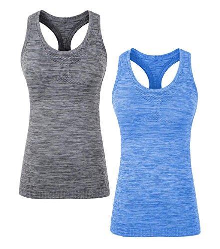 Racerback Shelf Bra Cami - YAKER Women's Active Fitness Workout Soft Stretch Racerback Yoga Tank Top Shirt (L Fit for 34D/36B/36C/36D/38A/38B/40A, Blue/Grey 2Pack)