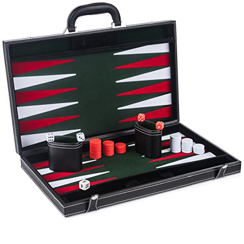 Smart Tactics Premium Backgammon Set - Large 17'' Wood & PU Leather Folding Backgammon Board Game - Green / White / Red Felt Interior - Includes Dice Cups, Doubling Cube & Instruction Manual (Backgammon Folding Wood Set)