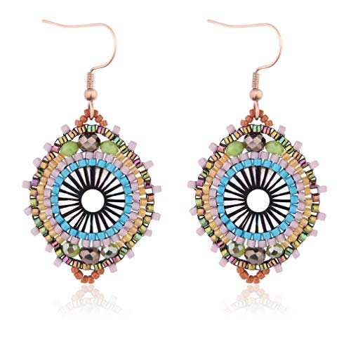 Jane Eyre Handmade Earrings Bohemian Dangle Drop Lightweight Rounded Fish Hook Earrings for Women and Girls (Blue & Multicolor) -