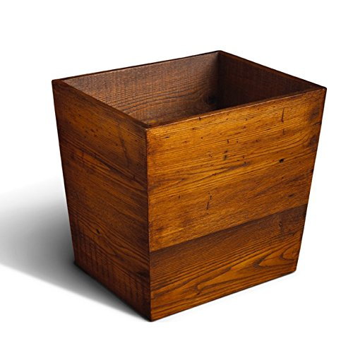 Chestnut Reclaimed Barn Beam Waste Bin - Storage Box / Wastebasket, Rustic Bath Paper Waste Basket
