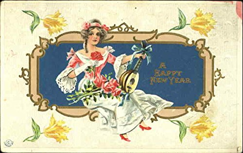 Woman with Lute New Year's Original Vintage Postcard