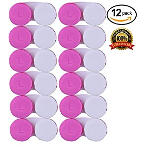 CONTACT LENS CASE – 12 Pink Contacts Cases for Cleaner Eyes. Bulk Monthly Disposable Screw Tops | Alpine Choice