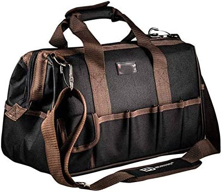 耐久性工具バッグ マルチポケット木工パワーツールのショルダーバッグ工具収納ハンドバッグ 工具収納&仕分け管理&運搬用 (色 : 褐色, Size : One size)