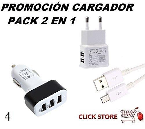 Cargador pack 2 en 1, cable + hogar + coche 2A Pack 4 para ...