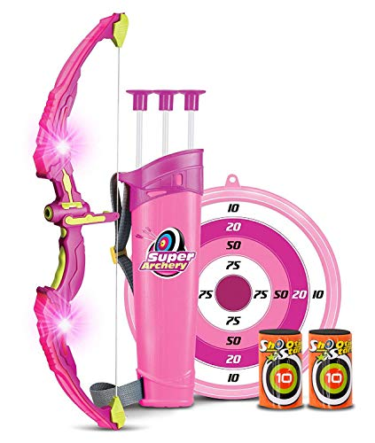 Bow and Arrow Kids Archery Set | Girls Bow and Arrow with Target, Quiver & 3 Suction Cup Arrows | Practice & Play Bow Hunting Indoor & Outdoor | Toy Bow and Arrow (Pink) -