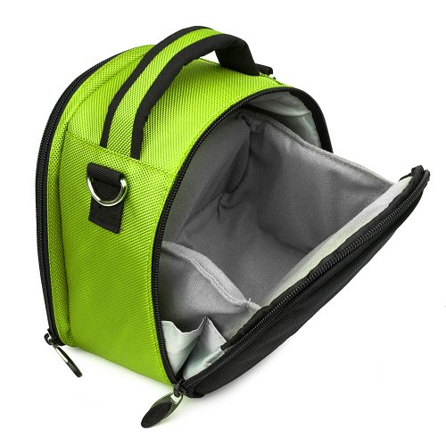 Nikon 1 Camera Case, Flip Out Design Accessories Bag Bundle (Lime Green Laurel Luxury Woven Case) Guaranteed to fit Any Nikon 1 Digital Camera System, Camera of the ()
