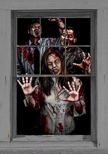 Wowindow Zombie Decorations Window Scene Posters -