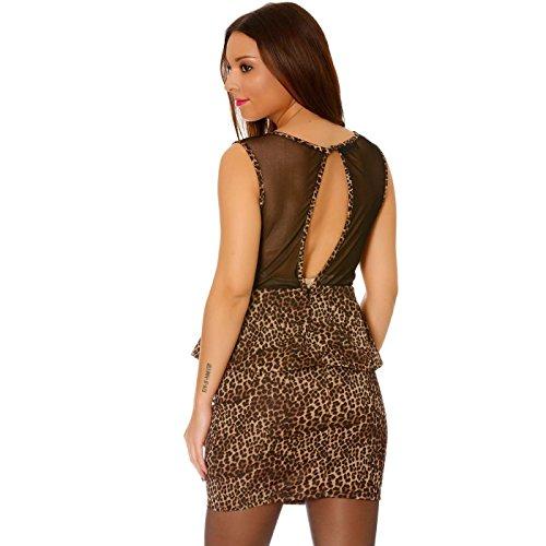 Miss Wear Line - Robe de soirée courte moulante léopard à volants et dos nu tulle noir