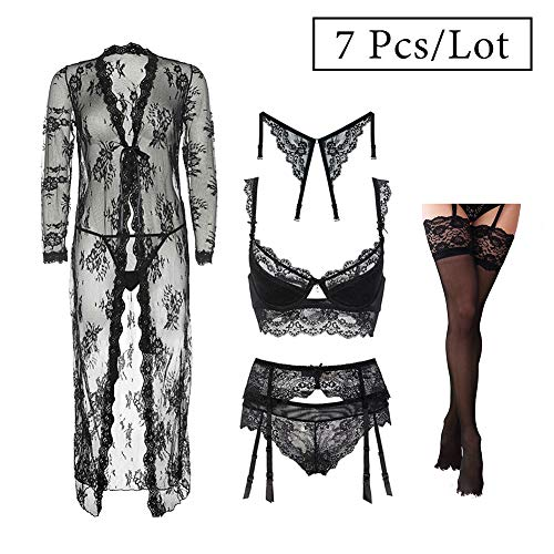 Women's Lace Lingerie Set See Through Robe and Bra and Panties and Stockings and Racerback Straps 6 Piece/Lots (Black, -
