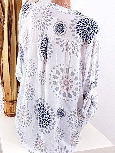 Tunique Chemisiers Imprime Blanc Longues Blouse T Manches Hauts et Lache Tops Shirt Tee Femmes Automne Shirts Printemps Casual 4OnqBawSUn