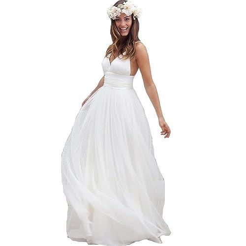 Women's Spaghetti Straps Long Beach Wedding Dresses Bridal Gowns