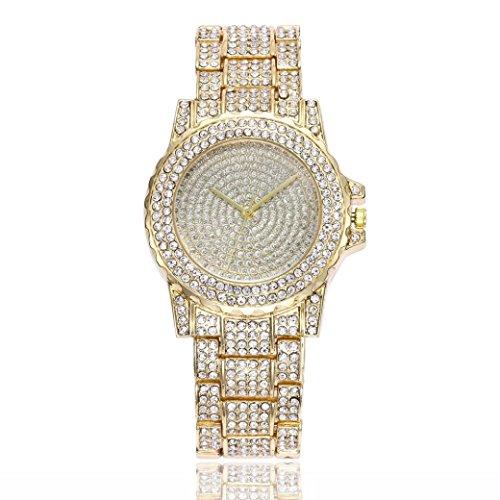 Swyss Women Fashion Trend Watch Diamond Luxury Analog Quartz Round Wrist Watch Chic Temperament Jewelry (Gold)