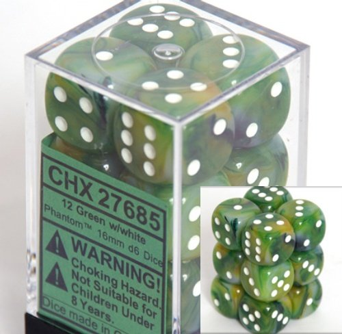 【2019正規激安】 Chessex Dice d6 Sets: Phantom Green with Dice with White Chessex - 16mm Six Sided Die (12) Block of Dice B0011WKL50, 下閉伊郡:1fe2ed12 --- cliente.opweb0005.servidorwebfacil.com