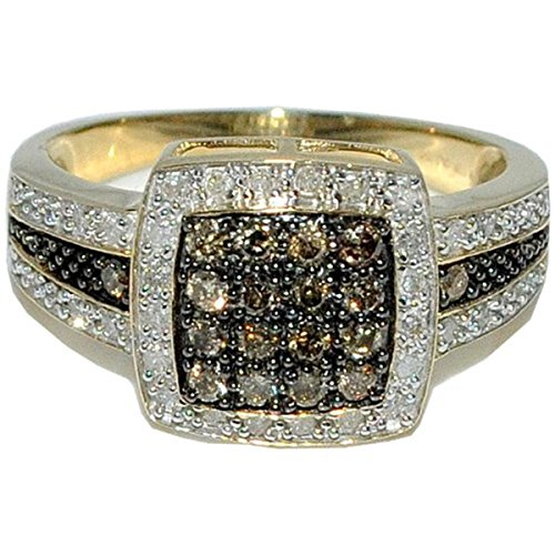 Cognac Diamond Cocktail Ring 0.49cttw Yellow Gold 11mm Wide Right Hand Anniversary (i2/i3, i/j)