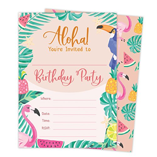 Hawaiian Aloha HI Maui Tropical Style 2 Happy Birthday Invitations Invite Cards (25 Count) With Envelopes & Seal Stickers Vinyl Boys Girls Kids (Tropical Theme Invitations)
