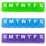 Ezy Dose 7-Day Classic Pill Reminder - Small, 4.5' x 0.75' x 0.5', Colors Vary, 2-Pack
