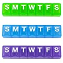"""Ezy Dose 7-Day Classic Pill Reminder - Small, 4.5"""" x 0.75"""" x 0.5"""", Colors Vary, 2-Pack"""