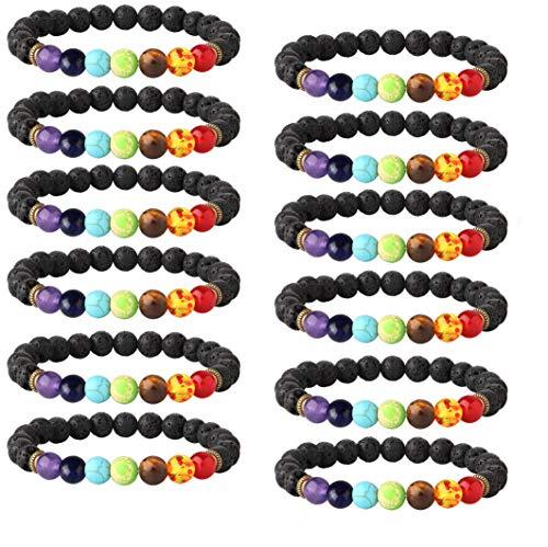 LOYALLOOK 6-12PCS Lava Stone Bracelet Chakras Bead Natural Stone Bracelet Oil Diffuser Bracelet (D:12pcs Black Lava Bracelet)