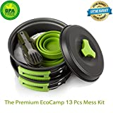 Mess Kit (13 Pcs) for Camping w/ Cookware Set Plus 7 In 1...