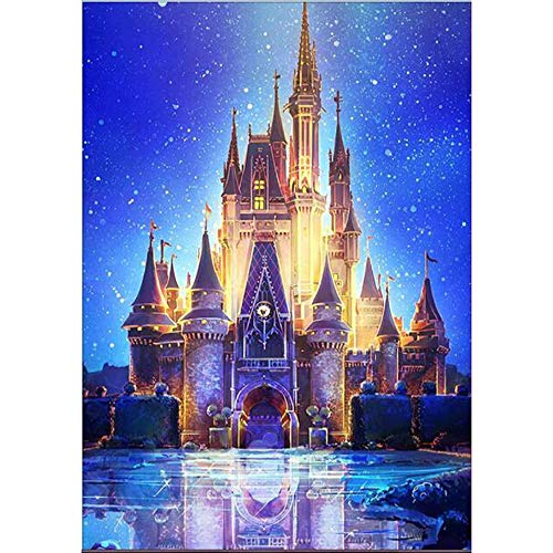 Clearance Sale 5D Diamond Painting Rhinestone Starry Sky Castle Dream Classical Embroidery Wallpaper DIY Cross Stitch Kit Crystal Full Drill Drawing for Adult Tools Home Decoration 30X40CM