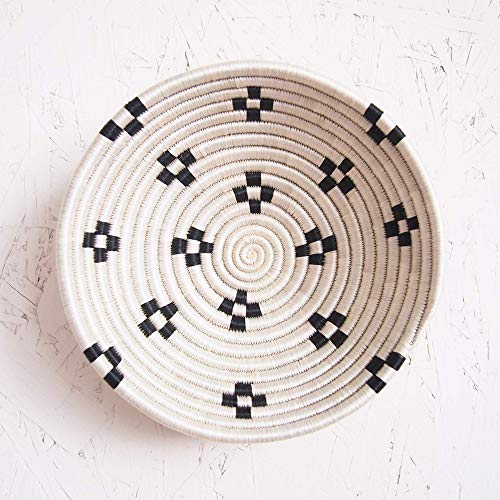 Small African Basket- Maraba/Rwanda Basket/Woven Bowl/Sisal & Sweetgrass Basket/Black, White - Fiber Art Bowl