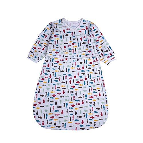 BLOOMSTAR Baby Long Sleeve Sleep Bag for Spring Autumn,100% Cotton Wearable Blanket Baby Sleeping Bag, Sleepwear(Swimming Fish S: 5-12M)