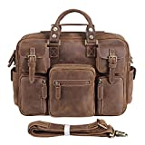 Texbo Vintage Full Grain Cowhide Leather 15.6 Inch laptop Briefcase Messenger Bag Tote Review