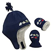 N'Ice Caps Little Boys Baby Sherpa Lined Fleece Embroidered Hat Mitten Set (6-18 Months, Navy/Gray Sherpa Lining Infant)