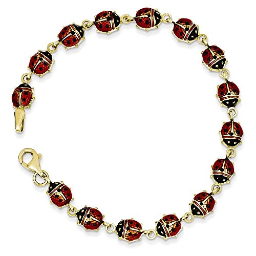 14k Ladybug Charm Bracelet (14K Enamel & Resin Ladybug Bracelet Length 7
