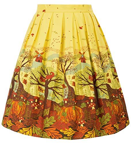 GRACE KARIN A-line Skirt Yellow Floral Autumn Midi Skirt Size L F-40 CL6294