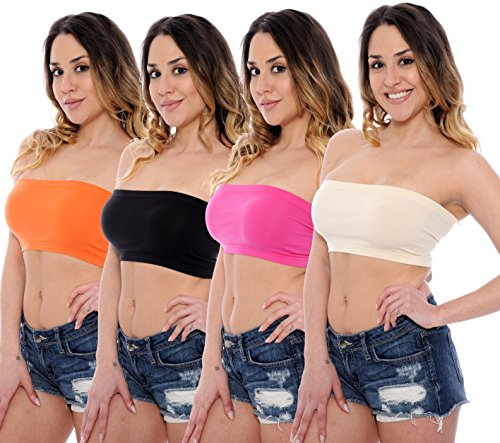 4-Pack-Seamless-Bandeau-Tube-Top-Nylon-Spandex-Bras-Multiple-Colors