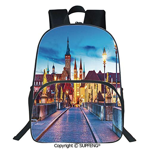SCOXIXI Laptop Backpack Colorful Sunset Evening View of Old Main Bridge in Historical Land Bavaria Germany (15.75
