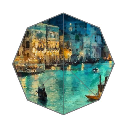 Flipped Summer Y Venice Italy at Night Painting Customized Art Prints Umbrella by Flipped Summer Y