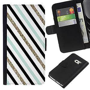 All Phone Most Case / Oferta Especial Cáscara Funda de cuero Monedero Cubierta de proteccion Caso / Wallet Case for Samsung Galaxy S6 EDGE // Blue Black Diagonal Teal