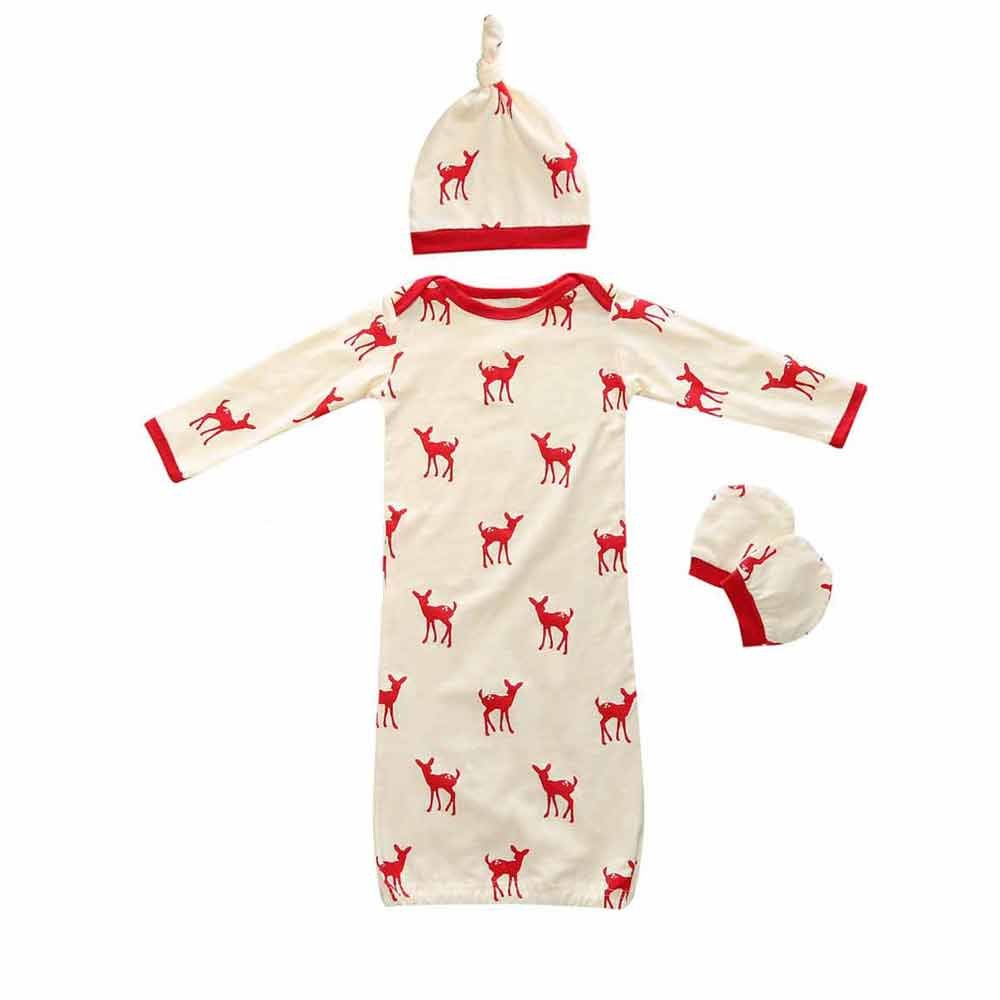 Mary ye Newborn Boys Girls Deer Print Sleepsack 3Pcs Baby Cotton Sleeping Gown