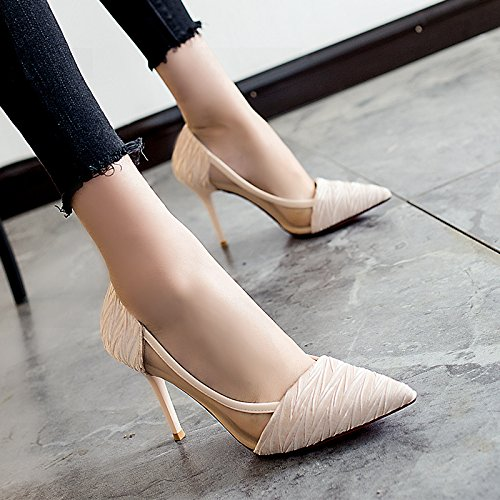 High 9cm Female High With heels Apricot Fine Pointed Heels Mesh New Summer color Jqdyl With Sandals Baotou Black UqO1O