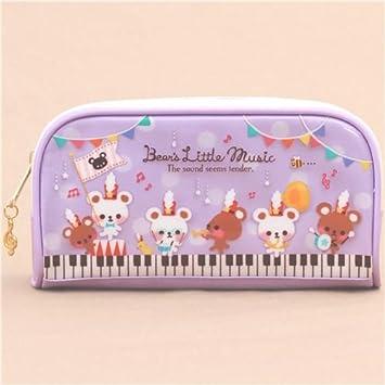 Lindo estuche lápices violeta blanco oso nota instrumento musical de Japón: Amazon.es: Juguetes y juegos