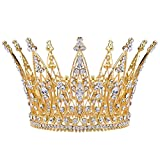 Stuffwholesale 4inch Height Gold Royal Crown Rhinestone Crystal Tiara Bridal Wedding Pageant Bouquet Hair Accessory (#3)