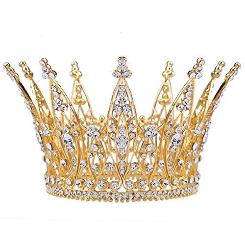 (Stuffwholesale 4inch Height Gold Royal Crown Rhinestone Crystal Tiara Bridal Wedding Pageant Bouquet Hair Accessory (#3))