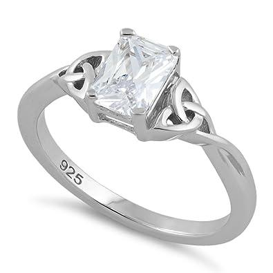 vari design cerca genuino promozione Argento sterling triquetra - The Trinity nodo anello con 7 x ...