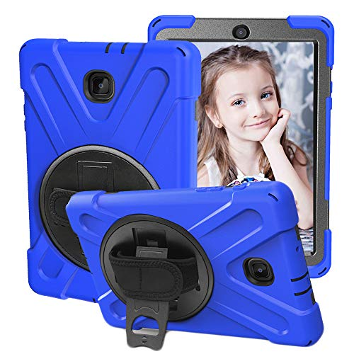 CCMAO Galaxy Tab A 8.0 Case 2018, SM-T387 Case, [Hand Strap] 360 Degree Rotating Kickstand Full-Body Impact Resistant Cover for Samsung Galaxy Tab A 8.0 Inch 2018 (SM-T387 Verizon/Sprint) (Blue)