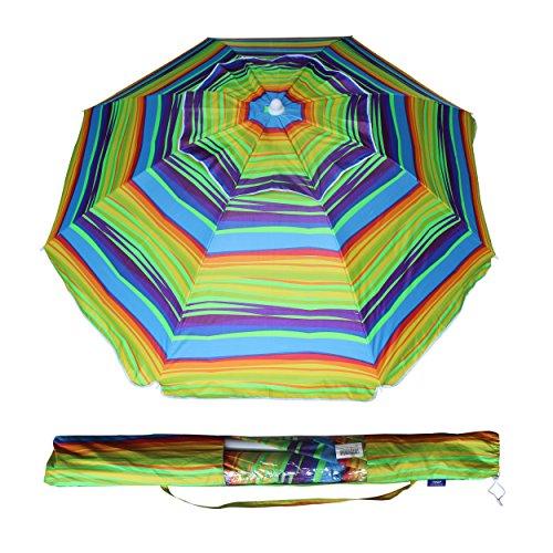 AMMSUN 6.5 ft Outdoor Patio Beach Umbrella Sun Shelter w/Tilt Air Vent Carry Bag Multicolor Red Green