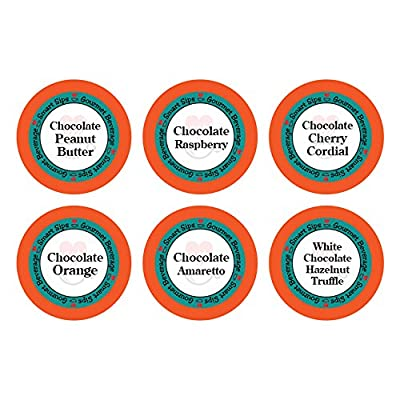 Smart Sips, Chocolate Obsession Gourmet Coffee Variety Sampler Pack, 24 Count for Keurig K-cup Brewers - Chocolate Cherry Cordial, Chocolate Peanut Butter, Chocolate Amaretto, Chocolate Raspberry, White Chocolate Hazelnut Truffle, Chocolate Orange