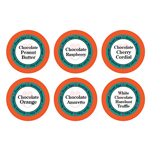 Smart Sips, Chocolate Obsession Gourmet Coffee Variety Sampler Pack, 24 Count for Keurig K-cup Brewers - Chocolate Cherry Cordial, Chocolate Peanut Butter, Chocolate Raspberry & -