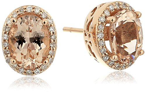 14k Rose Gold Morganite and Diamond Stud Earrings 1 5 cttw, H-I Color, I1-I2 Clarity