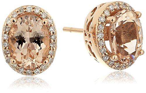 14k Rose Gold Morganite and Diamond Stud Earrings (1/5 ct...